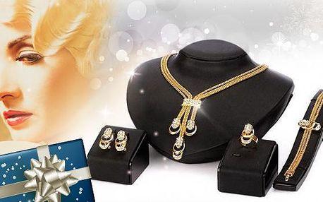 Luxusní set pozlacených šperků značky Victoria de Bastilla včetně poštovného! Náhrdelník, náušnice, náramek, prsten!