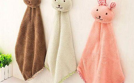 Dětský ručník v podobě králíčka - růžová