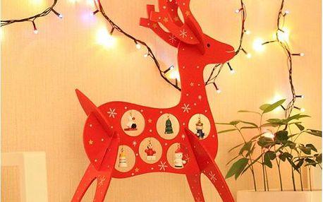 Dřevěný vánoční jelen s ozdobami!