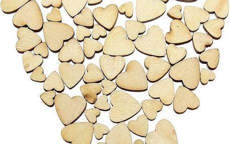 60 kusů dřevěných srdíček