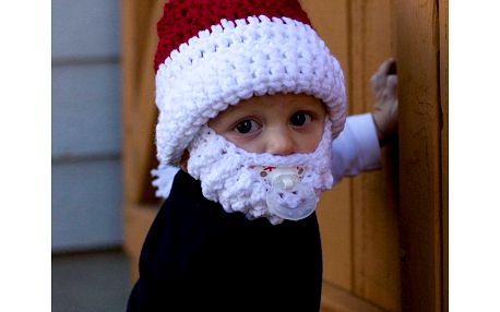 Vousatá čepice pro děti Santa Claus