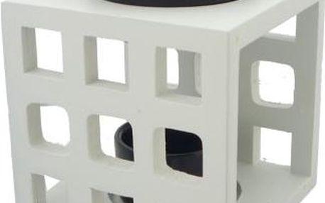 Aromalampa keramika a dřevo bílá