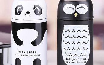 Termoska v designu pandy/sovy