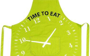 BO-MA Trading Zástěra TIME TO EAT zelená, 75 x 85 cm
