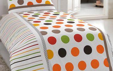 Night in Colours Bavlněné povlečení Pera oranžová, 140 x 200 cm, 70 x 90 cm