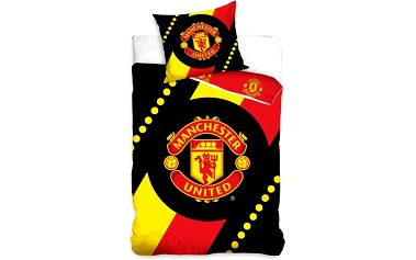 Tip Trade Bavlněné povlečení Manchester United Black, 140 x 200 cm, 70 x 90 cm
