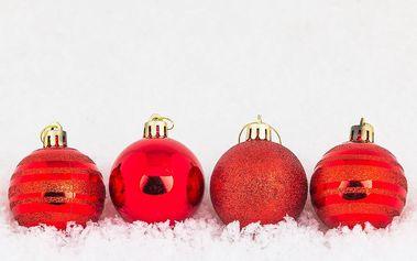 Vánoční koule 12 ks červená, HTH