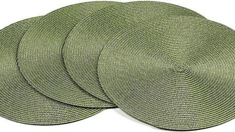 Jahu Prostírání Deco kulaté tmavě zelená, pr. 35 cm, sada 4 ks