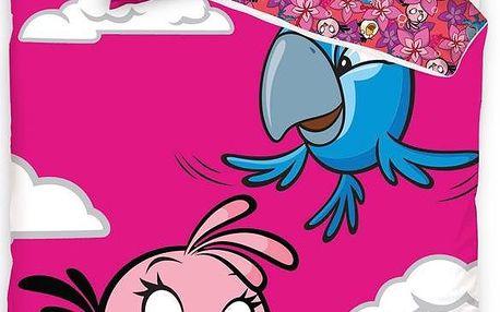Tip Trade Bavlněné povlečení Angry Birds Rio Pink Bird, 140 x 200 cm, 70 x 80 cm