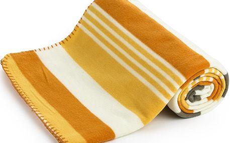 4Home Fleecová deka Pruhy oranžová, 130 x 170 cm
