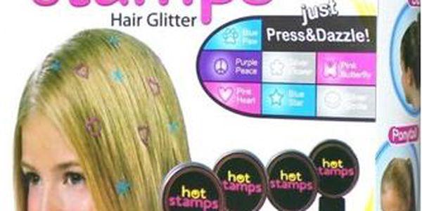 4-dílná sada barevných razítek na vlasy