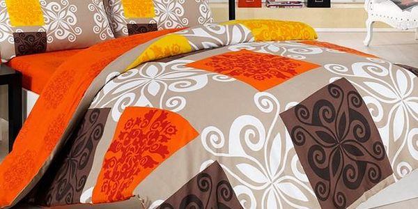 Povlečení Sedef oranž bavlna, 140 x 220 cm, 70 x 90 cm