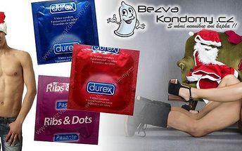 Vánoční balíček kondomů, 40 ks. Nejoblíbenější a kvalitní značky Durex a Pasante pro vaše zimní radovánky, vyzkoušejte 12 druhů kondomů!!! Durex je jednička na trhu, užívejte si bezpečné milování!!!
