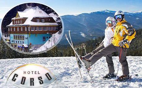 Zimní lyžovačka v Krkonoších s poctivou domácí kuchyní v Hotelu Corso jen kousek od sjezdovky