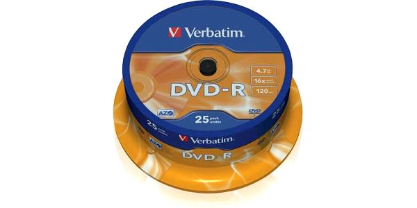 Disk Verbatim DVD-R 4,7GB, 16x, 25-cake (43522)