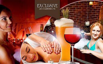 Luxusní wellness pro 2 osoby! 60 nebo 90min. pivní nebo vinné lázně! Neomezená konzumace vína či piva, masáž!