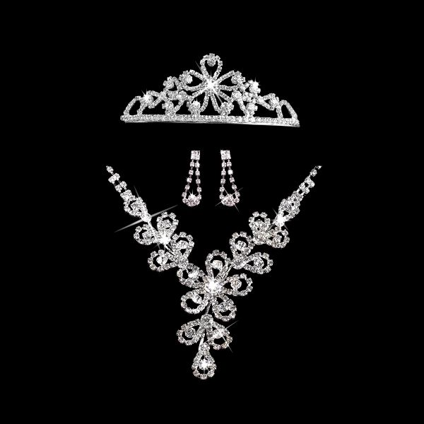 Štrasová sada Flowers náhrdelník, náušnice a korunka
