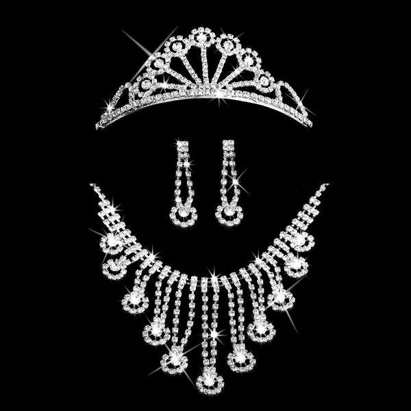 Plesová štrasová sada Sea náhrdelník náušnice a korunka