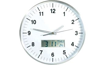 CONRAD Nástěnné analogové DCF hodiny s LCD