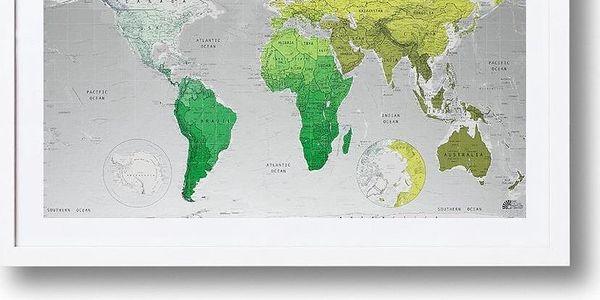 Mapa světa Future Map 101x57 cm, zelené odstíny