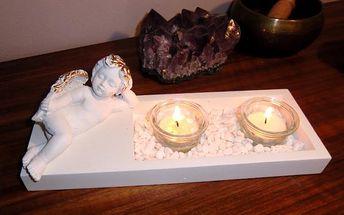 Svícen na dvě čajové svíčky s ležícím andělem