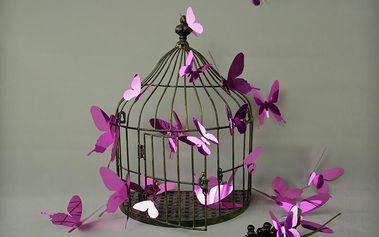 Sada 12 adhezivních 3D samolepek Ambiance Butterflies Purple