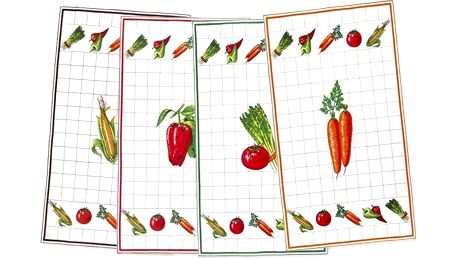 Kuchyňské utěrky Zelenina 40x70 cm, sada 4 kusů Bellatex