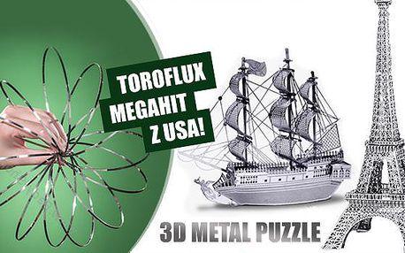 3D kovové puzzle - 4 motivy na výběr, či pružina ToroFlux pro procvičení motoriky pro všechny věkové kategorie.