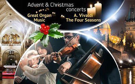 Adventní a vánoční koncerty klasické hudby u Karlova mostu. Termíny denně do konce ledna 2016.