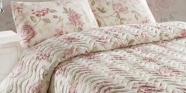 Sada přehozu přes postel a polštářů Care Pink, 200x220 cm