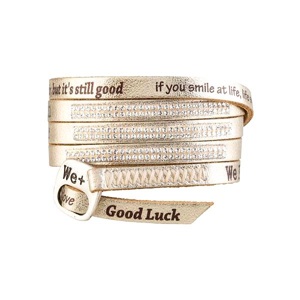 We Positive Zlatý wrap náramek s nápisy a krystaly Swarovski Elements Gold SW001