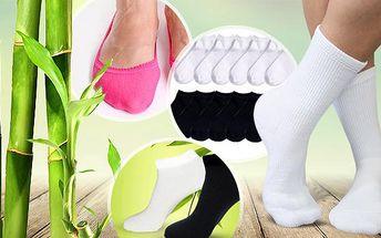 Antibakteriální bambusové ponožky, 12 párů! Do balerín, vysoké či kotníkové, výběr velikostí i barev.