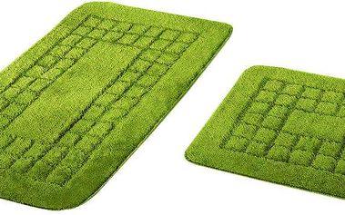 Euromat Sada koupelnových předložek Pearl zelená, 80 x 50 cm, 50 x 40 cm