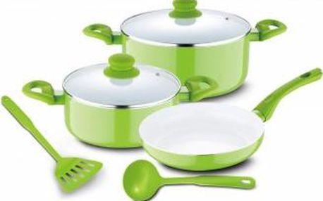Sada nádobí s keramickým povrchem 7 ks, zelená RENBERG RB-1196zele