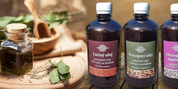 Léčivý konopný, lněný nebo ostropestřcový olej