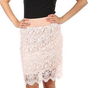 Krásná stylová sukně s háčkovanou vrchní vrstvou růžová