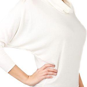 Dámský svetr lichotící postavě s netopýřími rukávy bílá