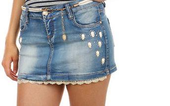 Džínová sukně s kamínky a krajkou