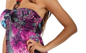 Dlouhé šaty s květinovým potiskem fialová