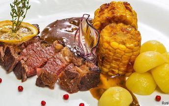 Dva vydatné steaky s přílohou dle výběru