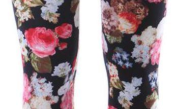 Barevné legíny s květy červená