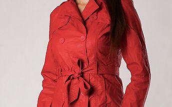 Dámský koženkový kabátek červená