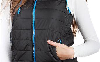 Unikátní prošívaná vesta s kapucí černá