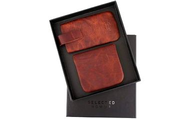 Tmavě hnědý kožený obal na mobil a peněženka Selected Anton