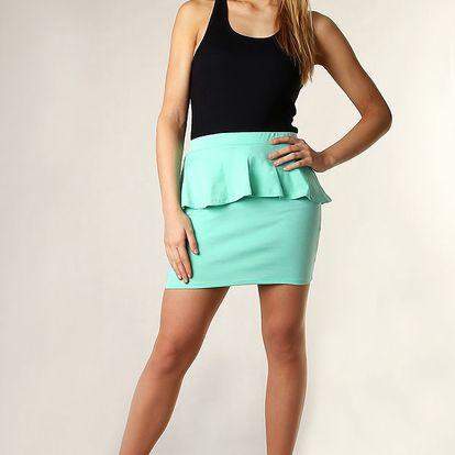Dámská sukně s volánkem vysoký pas tyrkysová