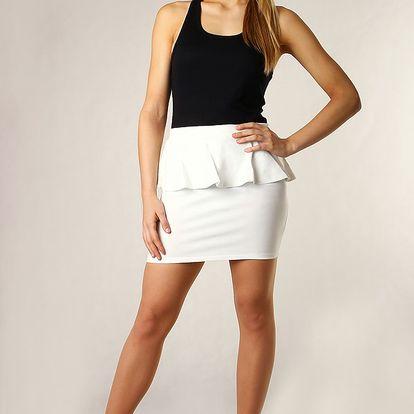 Dámská sukně s volánkem vysoký pas bílá