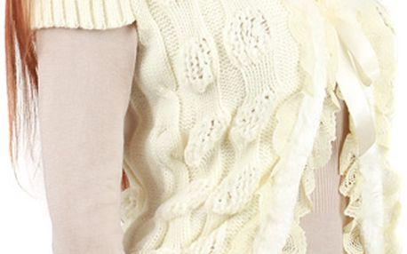 Dámská vesta s umělou kožešinou bílá