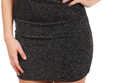 Třpytivé mini šaty bez ramínek stříbrná