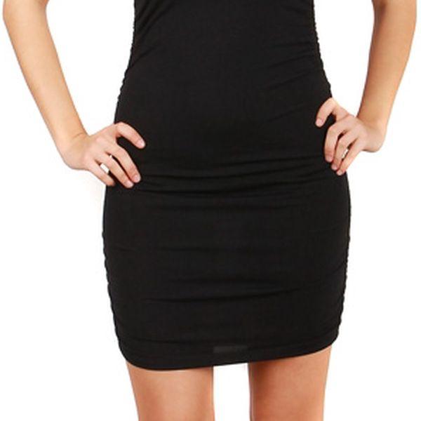 Společenské šaty s krajkou - party šaty tyrkysová