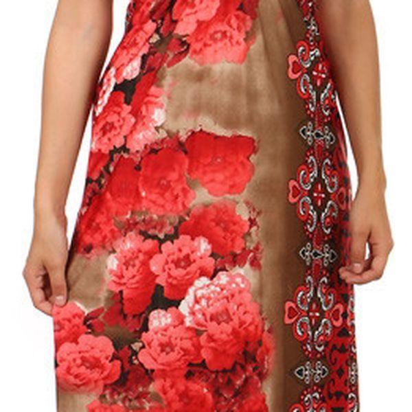Dlouhé šaty s květinovým potiskem červená